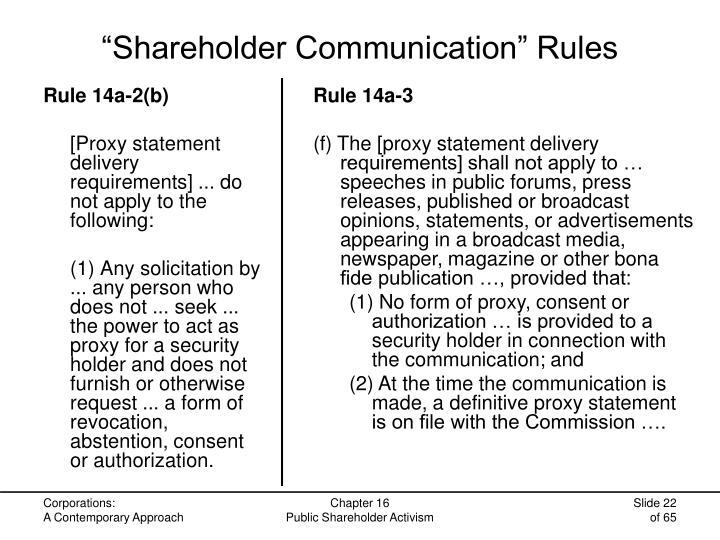 """""""Shareholder Communication"""" Rules"""