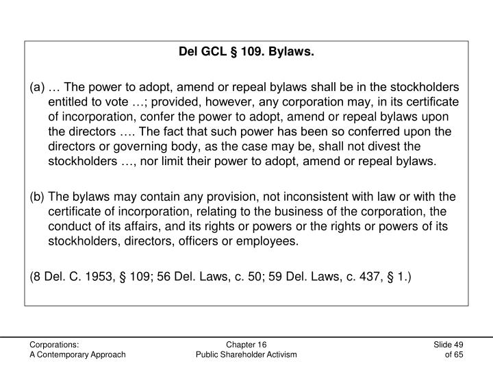 Del GCL § 109. Bylaws.