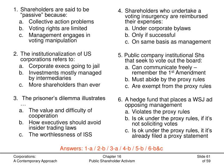 4.Shareholders who undertake a voting insurgency are reimbursed their expenses:
