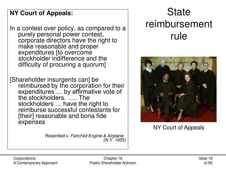 State reimbursement rule