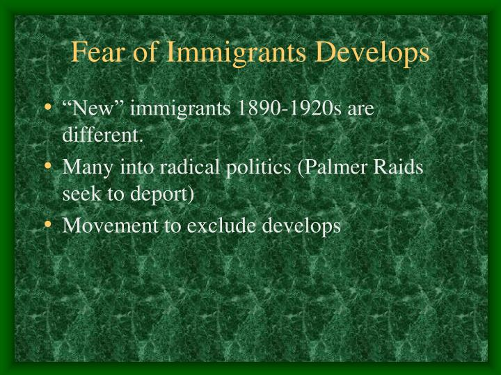 Fear of Immigrants Develops