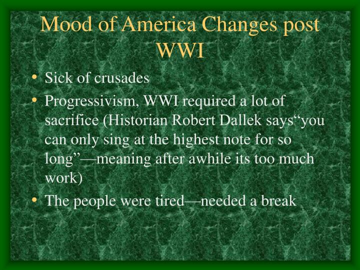 Mood of America Changes post WWI