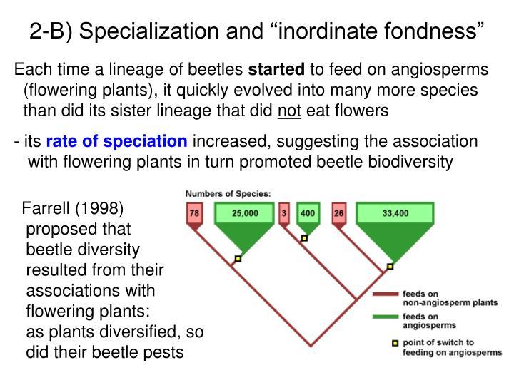 "2-B) Specialization and ""inordinate fondness"""
