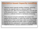 heuristics based capacity levelling