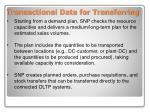 transactional data for transferring