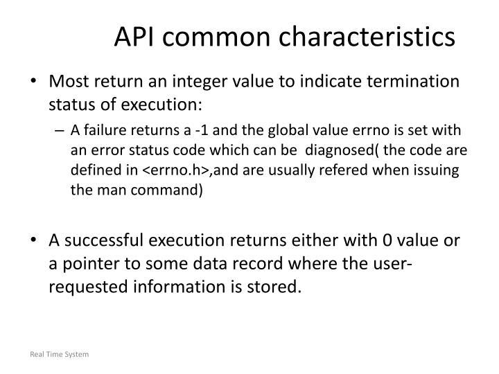 API common characteristics