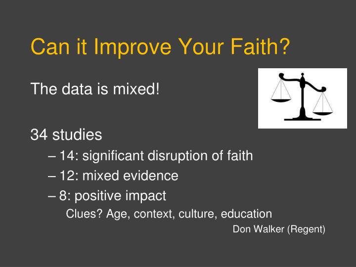 Can it Improve Your Faith?