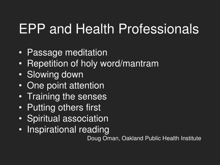 EPP and Health Professionals