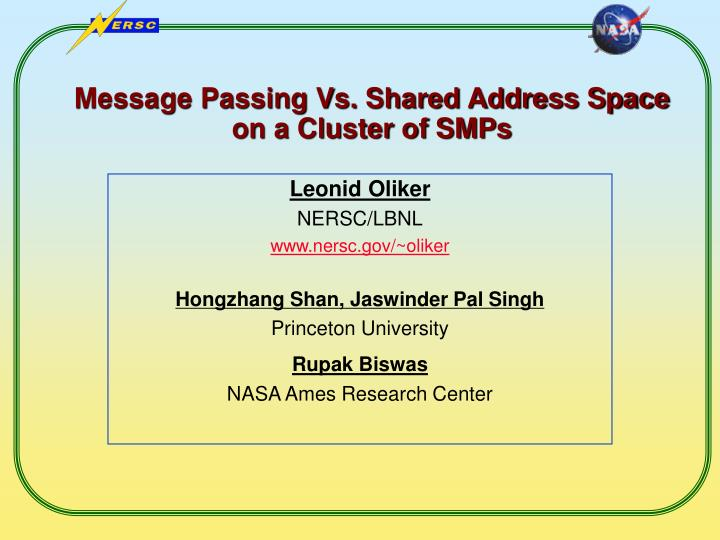 Message passing vs shared address space on a cluster of smps