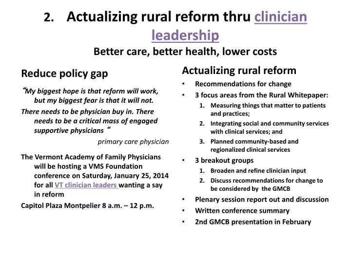 Actualizing rural reform thru