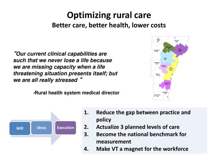 Optimizing rural care