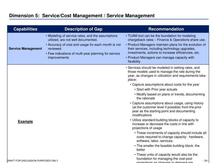 Dimension 5:  Service/Cost Management / Service Management