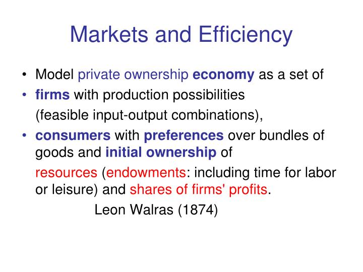 Markets and Efficiency