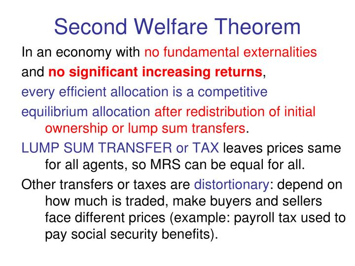 Second Welfare Theorem