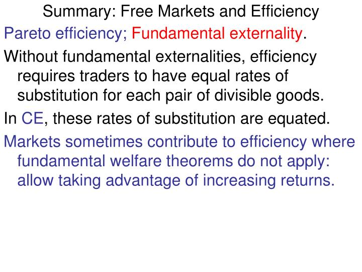 Summary: Free Markets and Efficiency