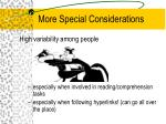 more special considerations