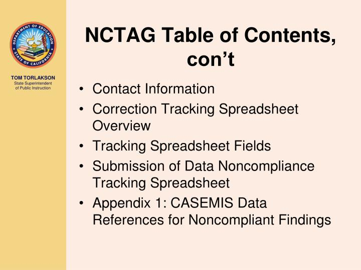 NCTAG Table of Contents, con't