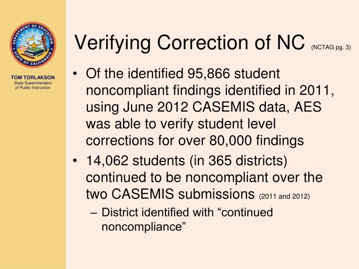 Verifying Correction of NC