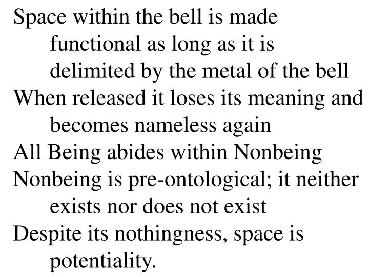 Space within the bell is made functional as long as it is delimited by the metal of the bell