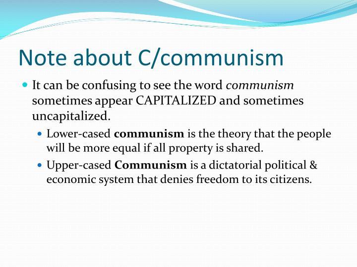 Note about C/communism
