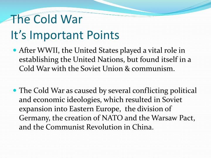 The cold war it s important points