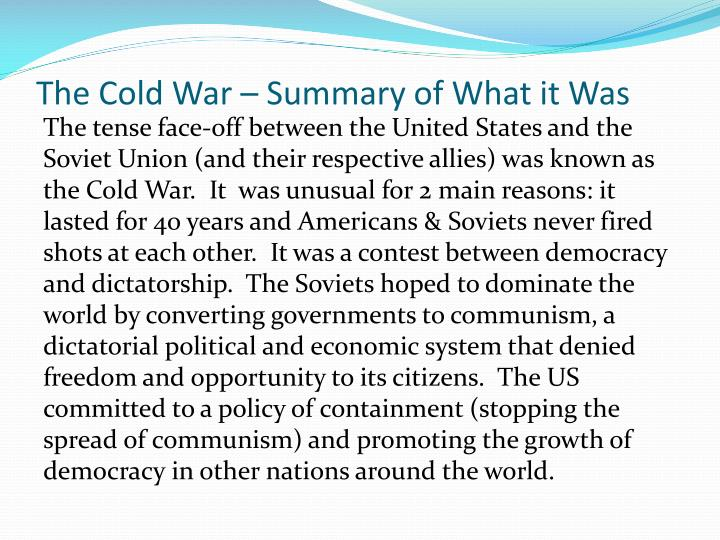 The Cold War – Summary of What it Was