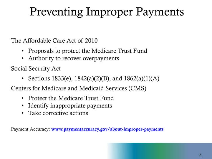 Preventing improper payments