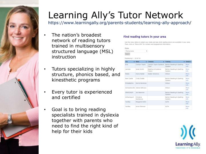 Learning ally s tutor network https www learningally org parents students learning ally approach