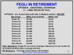 fegli in retirement option b additional coverage 1 5 multiples of pay