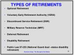 types of retirements