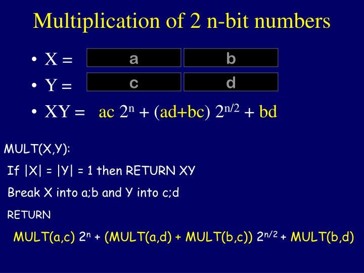Multiplication of 2 n-bit numbers