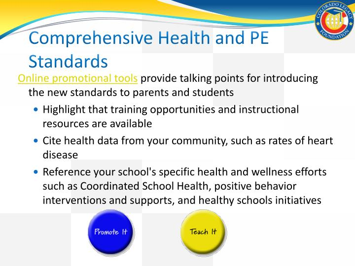 Comprehensive Health and PE Standards