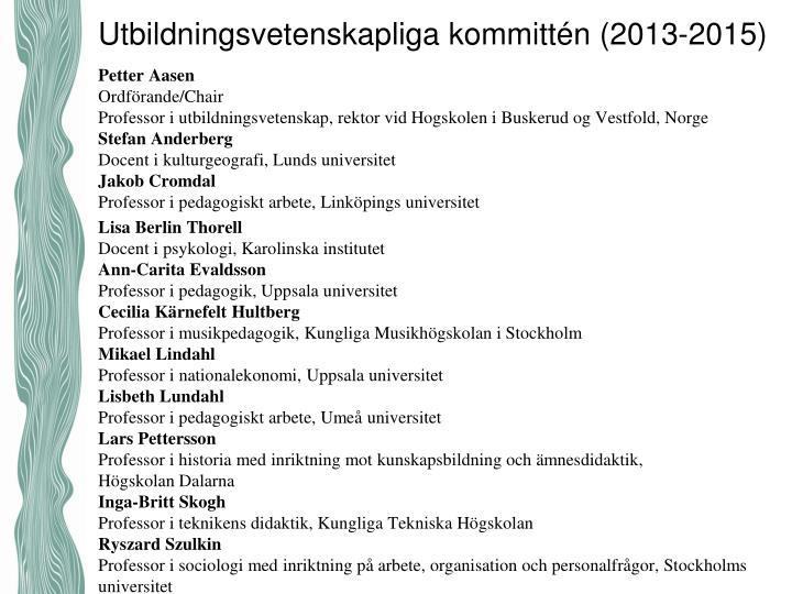 Utbildningsvetenskapliga kommittén (2013-2015)