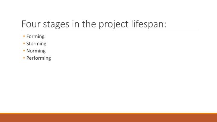 Four stages in the project lifespan