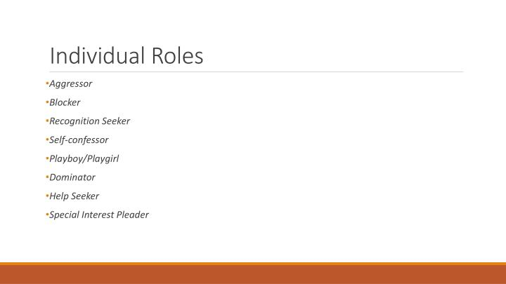 Individual Roles