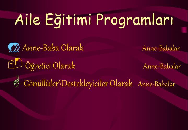 Aile Eğitimi Programları