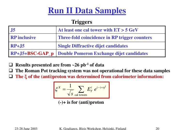 Run II Data Samples