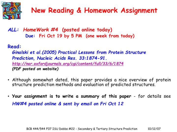 New Reading & Homework Assignment