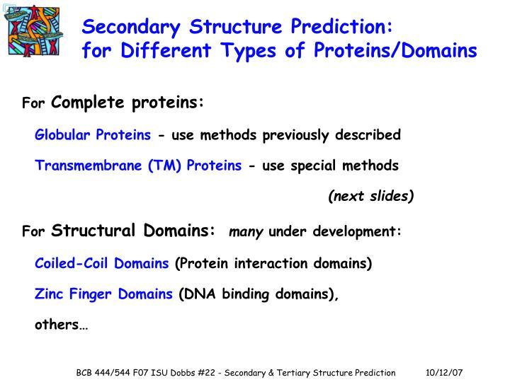 Secondary Structure Prediction: