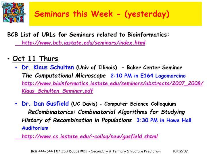 Seminars this Week - (yesterday)