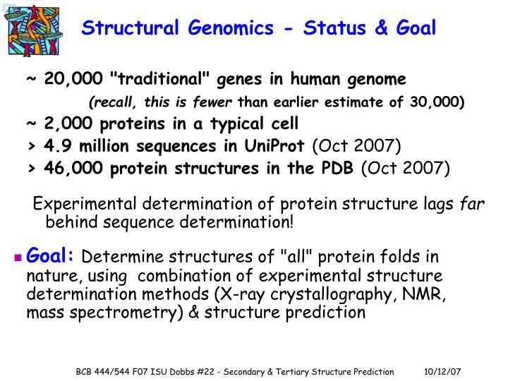Structural Genomics - Status & Goal