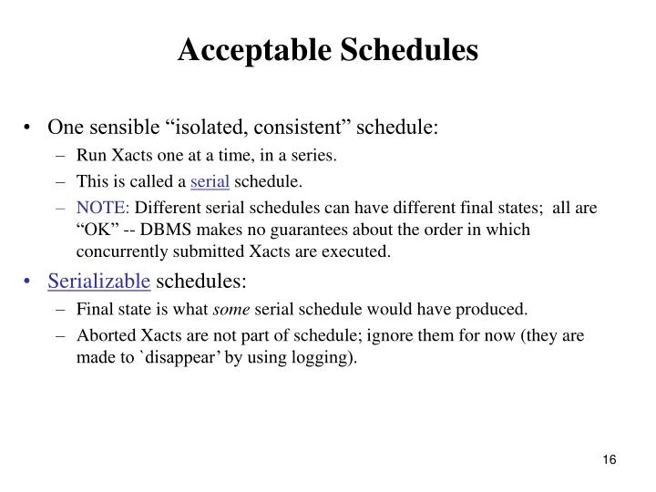 Acceptable Schedules
