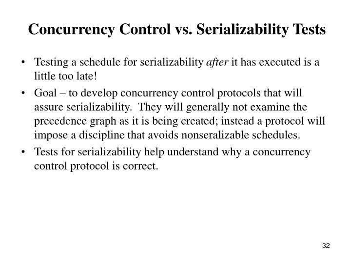 Concurrency Control vs. Serializability Tests