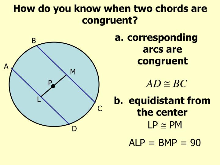 How do you know when two chords are congruent?