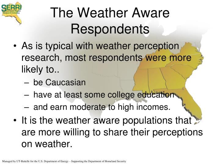 The Weather Aware Respondents