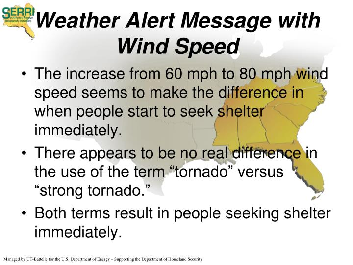 Weather Alert Message with Wind Speed