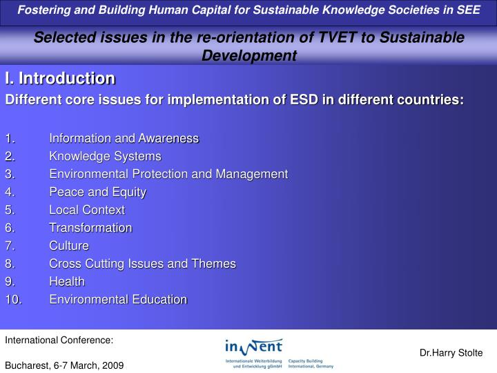 selected issues in the re orientation of tvet to sustainable development