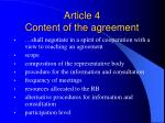article 4 content of the agreement