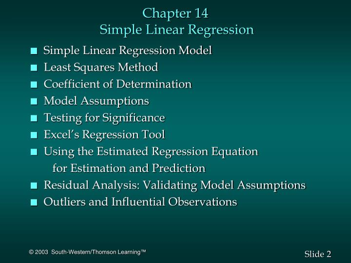Chapter 14 simple linear regression