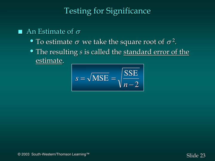 Testing for Significance